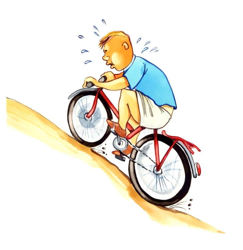 Gros garçon sur le vélo illustration libre de droits