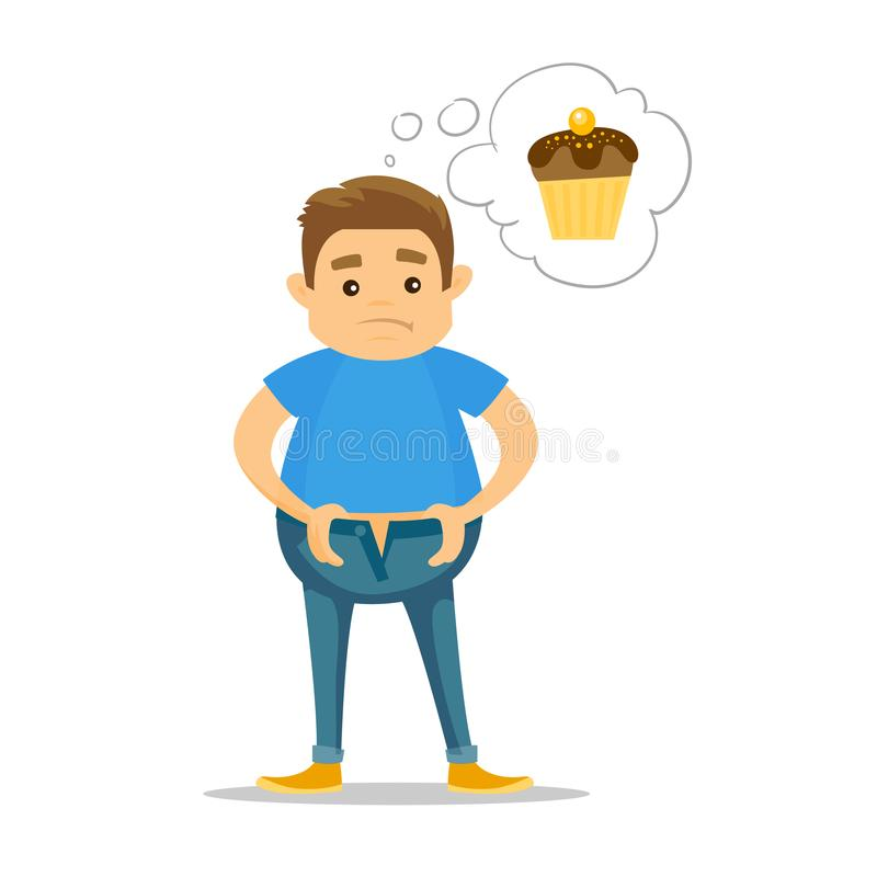 Gros homme blanc caucasien rêvant du petit gâteau illustration stock