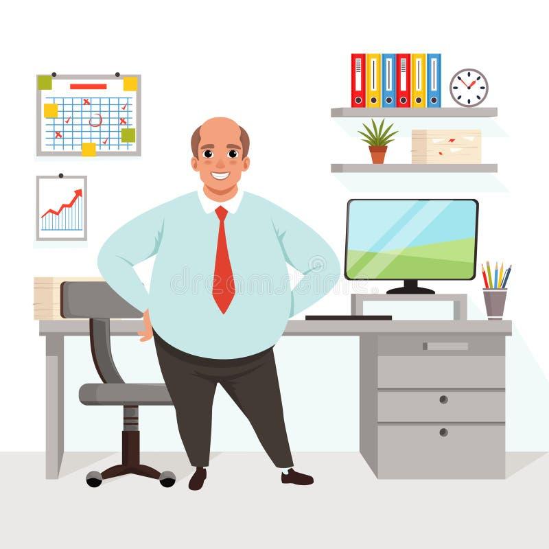 Gros homme chauve dans le bureau Travailleur dans l'habillement formel Lieu de travail avec la table, chaise, ordinateur, diagram illustration de vecteur