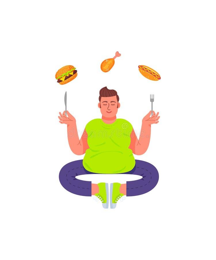 Gros homme dans une pose de méditation avec une fourchette et un couteau dans des ses mains Gros homme et nourriture malsaine Ham illustration de vecteur