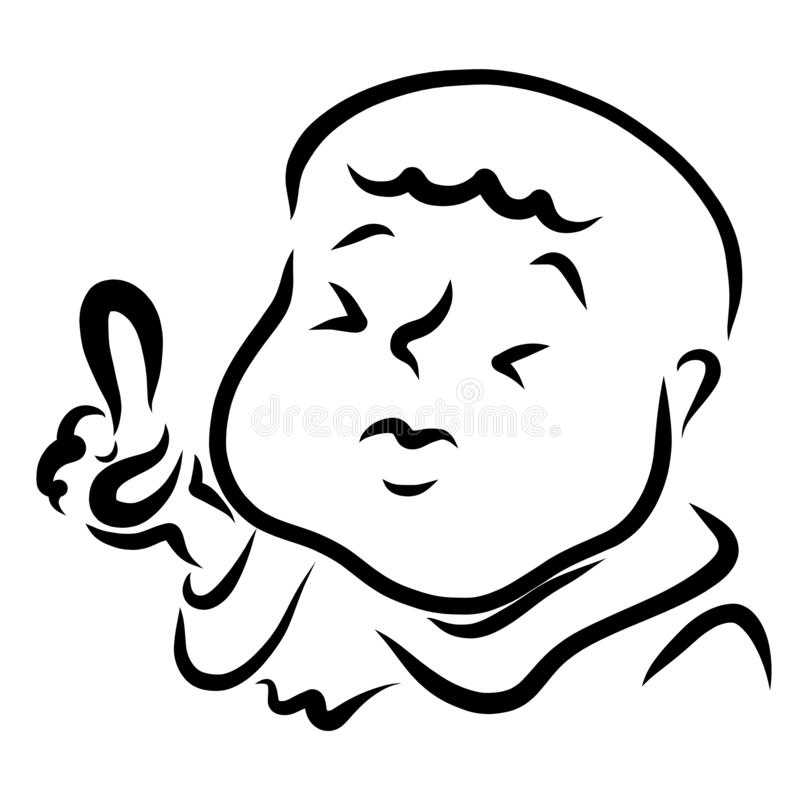 Gros homme ou enfant avec le chef chauve dirigeant le doigt  illustration libre de droits