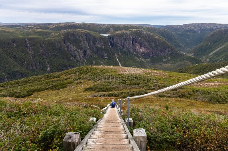 Splendor of Gros Morne mountain. Gros Morne Mountain Trail in Gros Morne National Park in Newfoundland, Canada Late fall on a stormy windy day. Mountains and royalty free stock image