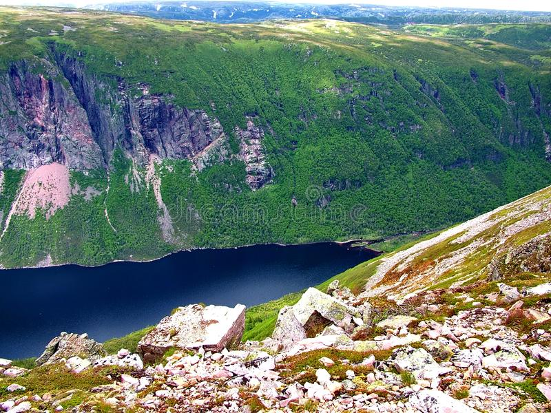 Gros Morne Summit view, Newfoundland. Gros Morne Summit view in Gros Morne National Park, Newfoundland royalty free stock photography