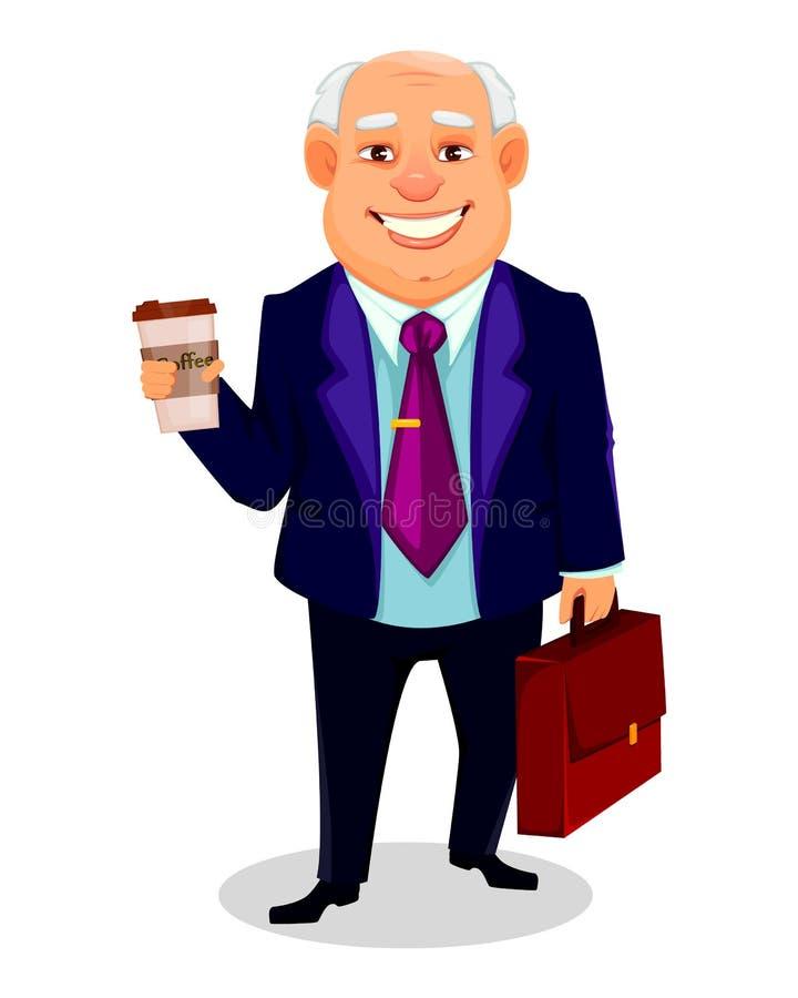 Gros personnage de dessin animé gai d'homme d'affaires illustration libre de droits
