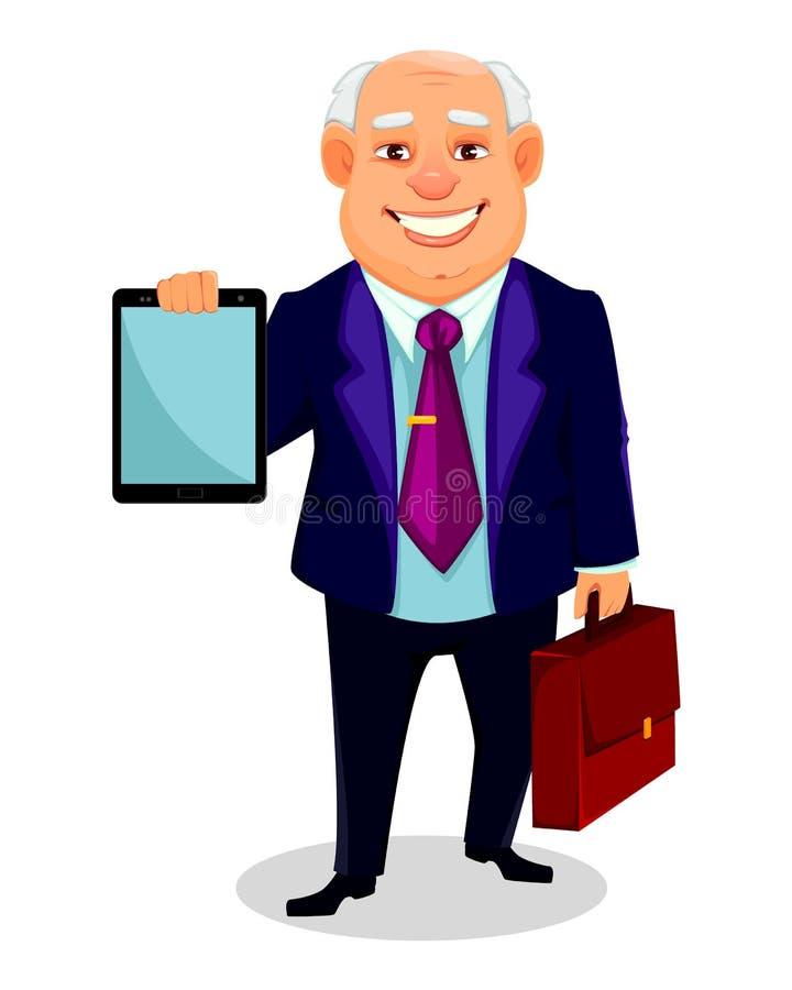 Gros personnage de dessin animé gai d'homme d'affaires illustration de vecteur