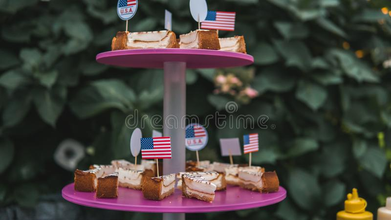 Gros plan de la tranche sucrée de gâteau au fromage Un délicieux gâteau au fromage fait maison servi en plein air images stock