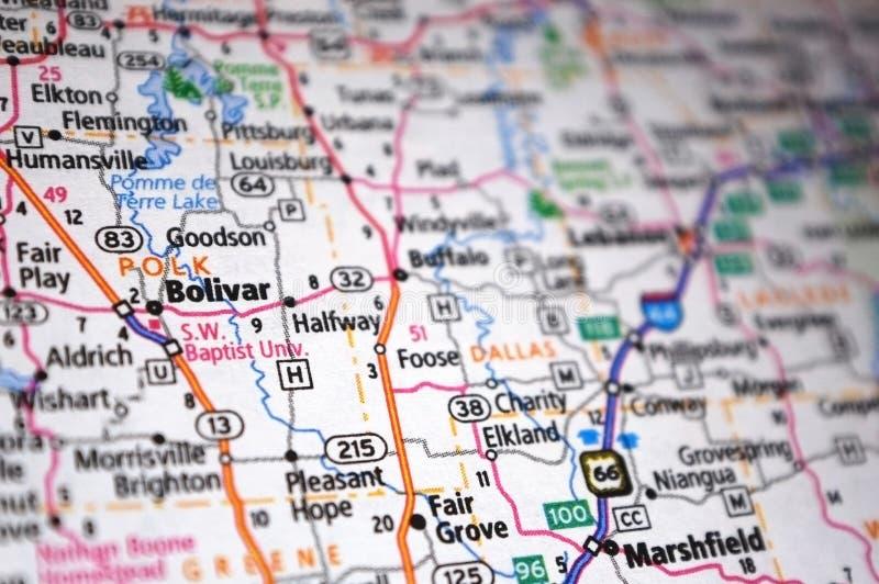 Gros plan extrême de Bolivar, Missouri sur une carte images libres de droits