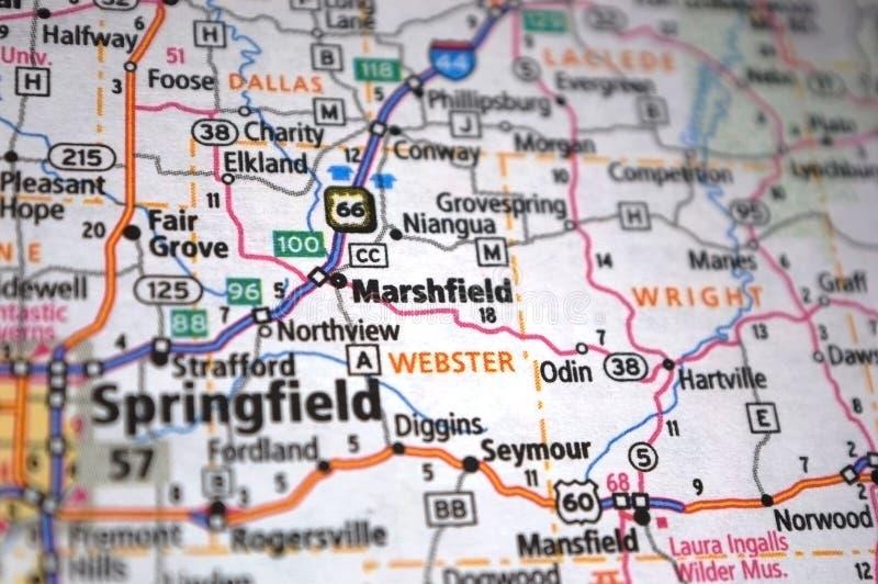 Gros plan extrême de Marshfield, Missouri sur une carte images stock