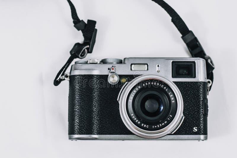 Gros plan Photo de l'appareil photo réflexe à cristaux liquides Vintage Black and Silver image libre de droits