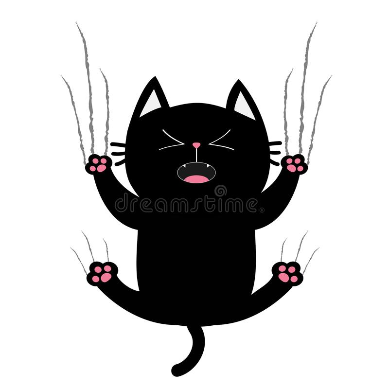 Gros verre noir d'éraflure de griffe de clou de chat Chaton criard Caractère drôle de bande dessinée mignonne tombant vers le bas illustration stock