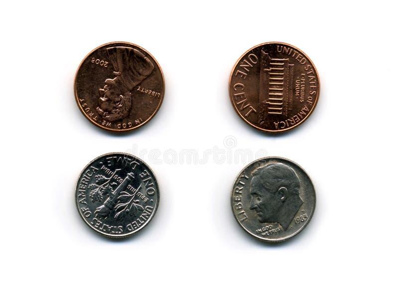 Groschen und Penny lizenzfreie stockbilder