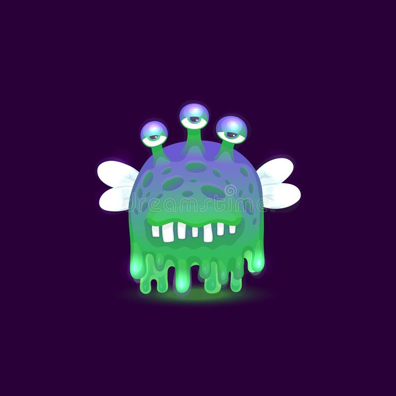 Gross cartoon alien monster with dripping slime skin with three bored eyes and glowing green and purple color vector illustration