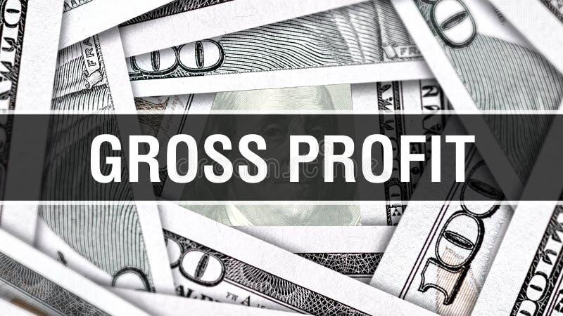 Gross Profit Closeup Concept. American Dollars Cash Money,3D rendering. Gross Profit at Dollar Banknote. Financial USA money bankn royalty free illustration