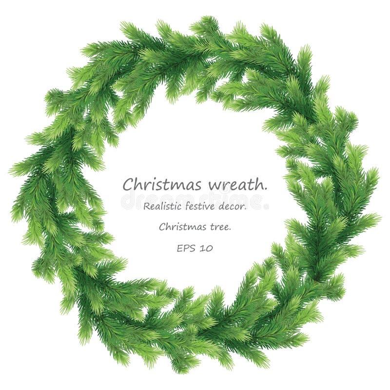 Grosse couronne verte de Noël en branches d'arbres de Noël Nouvel An et guerre de Noël Vacances naturelles avec pinède EPS illustration de vecteur