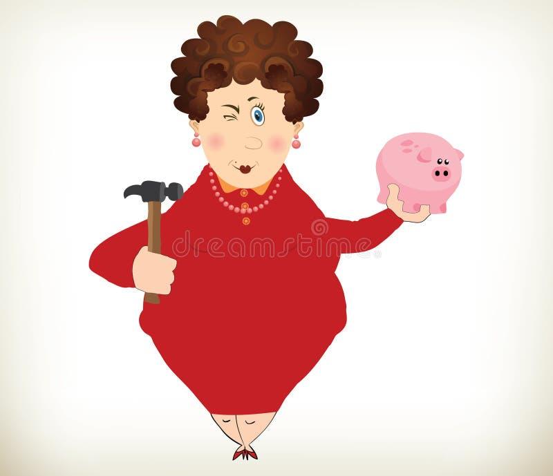 Grosse dame gaie tenant une tirelire et un marteau illustration stock