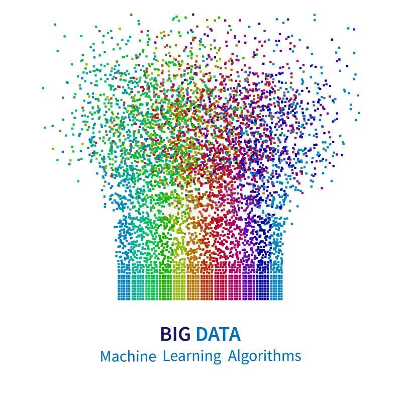 GROSSE DATEN Lernfähigkeit- einer Maschinealgorithmen Analyse von Design Informationen Minimalistic Infographics Wissenschafts-/T vektor abbildung
