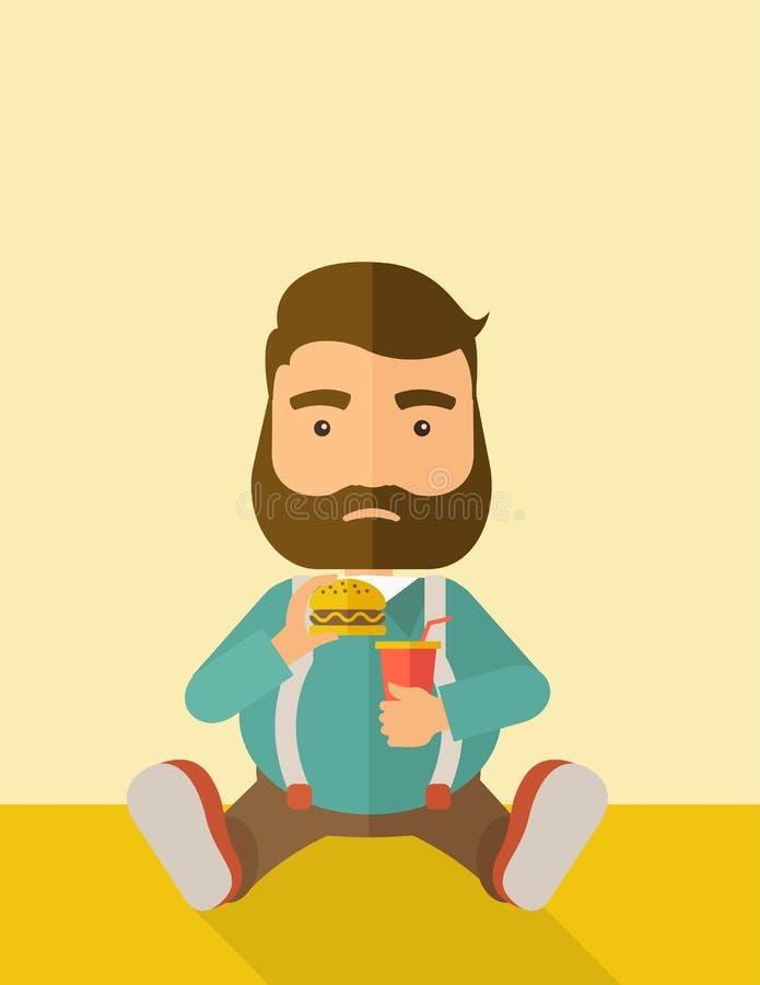 Grosse séance d'homme tout en mangeant illustration stock