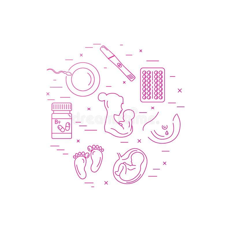 Grossesse et accouchement Ligne icônes de vecteur illustration libre de droits