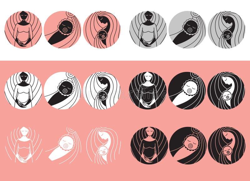 Grossesse et accouchement Vecteur lin?aire icons_2 illustration de vecteur