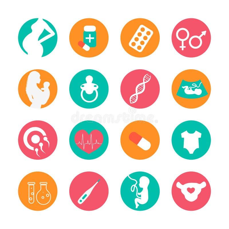 Grossesse et icônes nouveau-nées de bébé réglées Icônes de vecteur de médecine et de grossesse réglées Accouchement et maternité illustration stock