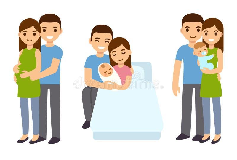 Grossesse et naissance dans la famille illustration libre de droits