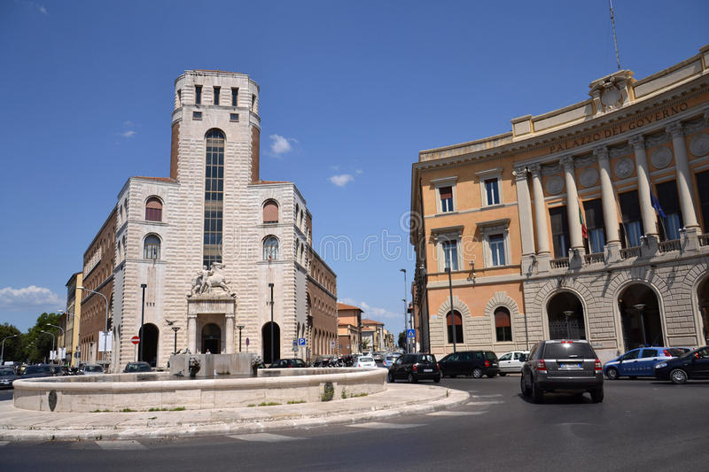 Grosseto in Italy. Grosseto, Italy – July 16, 2012: Piazza Della Vasca in center of Grosseto, Italy. Grosseto is the place of trial with captain Francesco stock photography