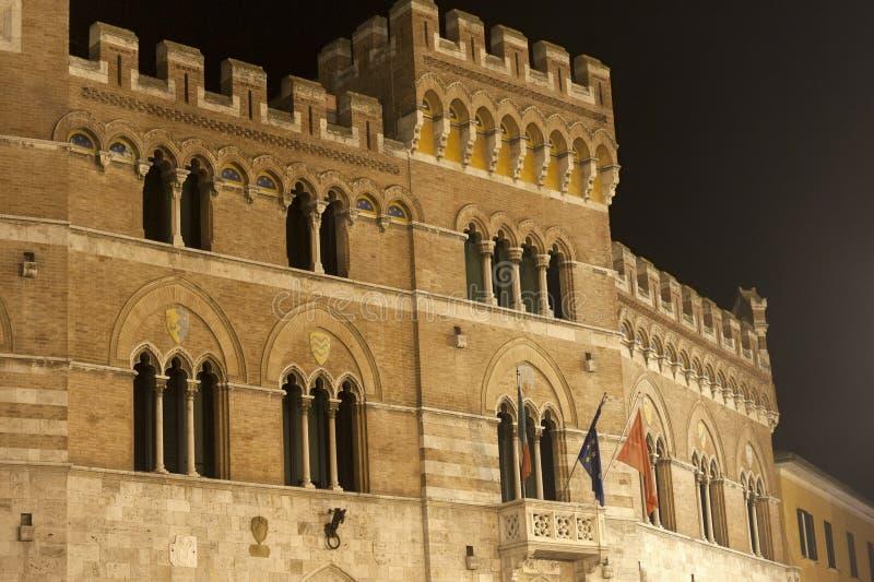 Grosseto (Tuscany), ancient palace. Grosseto (Tuscany, Italy), historic palace by night royalty free stock photo