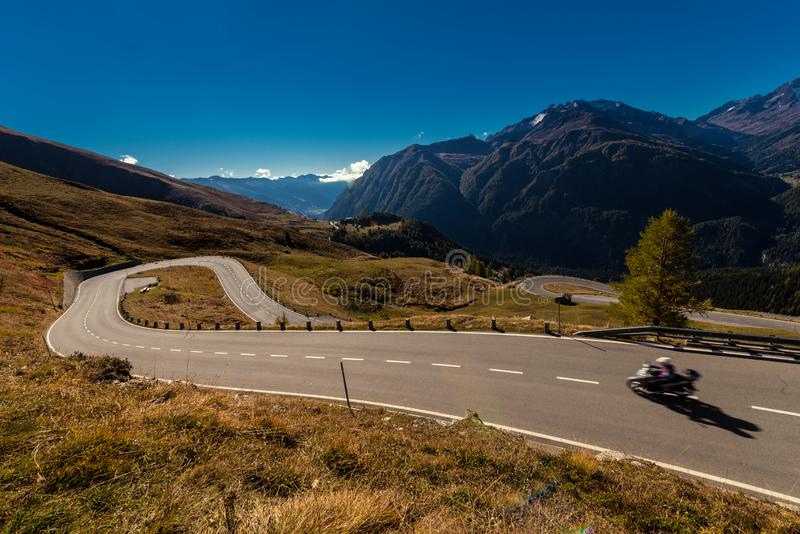 Grossglockner High Alpine Road in Austria at autumn. Grossglockner High Alpine Road, Austria, Oct. 2018, Motor bike on the Grossglockner High Alpine Road, Hohe stock images