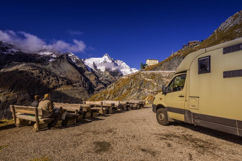 Grossglockner High Alpine Road in Austria at autumn. Grossglockner High Alpine Road, Austria, Oct. 2018, Picnic with RV at Franz Josefs Hoehe at Grossglockner royalty free stock photography