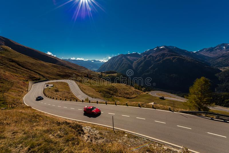 Grossglockner High Alpine Road in Austria at autumn. Grossglockner High Alpine Road, Austria, Oct. 2018, sportscar on the Grossglockner High Alpine Road, Hohe stock photography