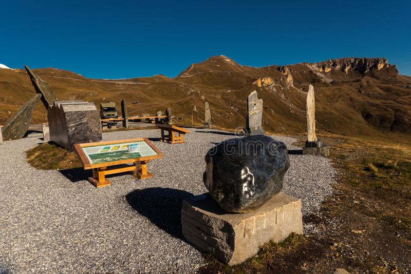 Grossglockner High Alpine Road in Austria at autumn. Grossglockner High Alpine Road, Austria, Oct. 2018, Theme Park at Grossglockner High Alpine Road, Hohe royalty free stock photography