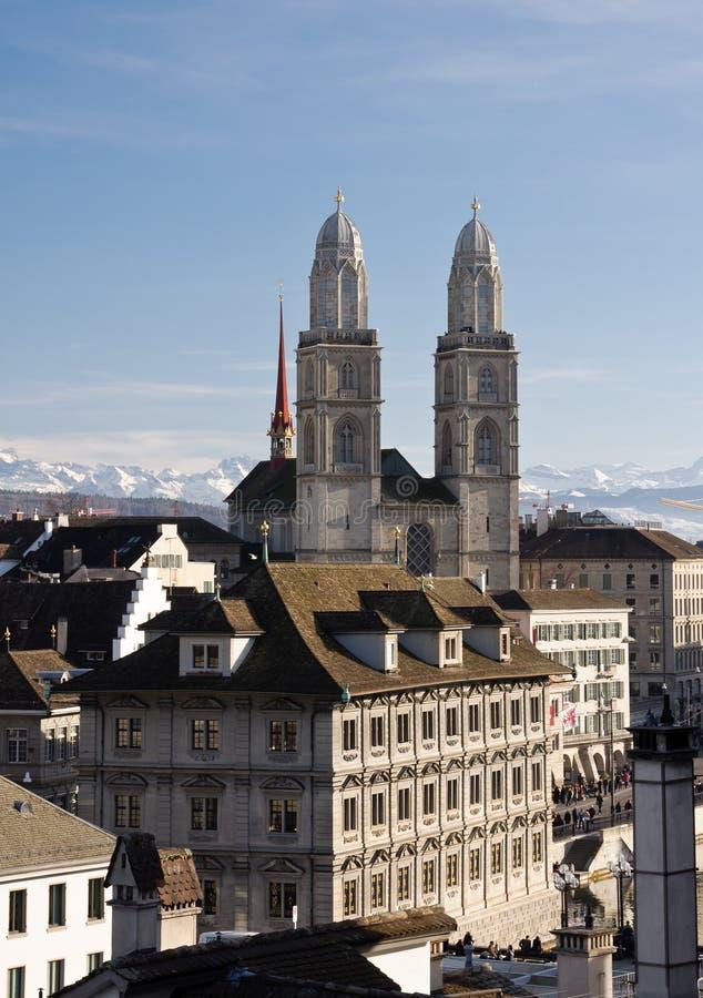 Grossmuenster em Zurique fotos de stock royalty free