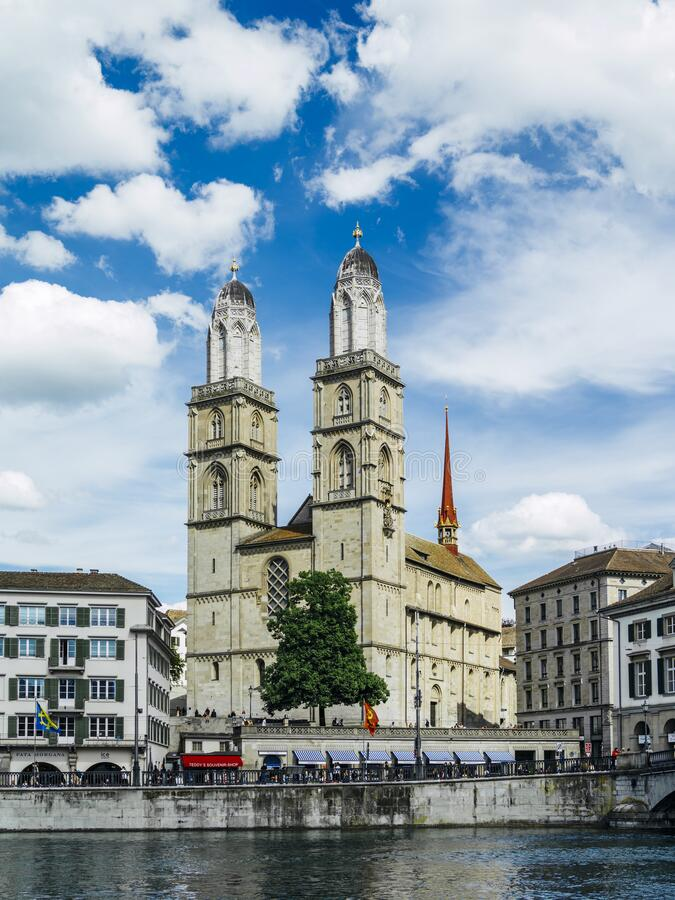 Grossmunster church in Zurich Switzerland royalty free stock photography