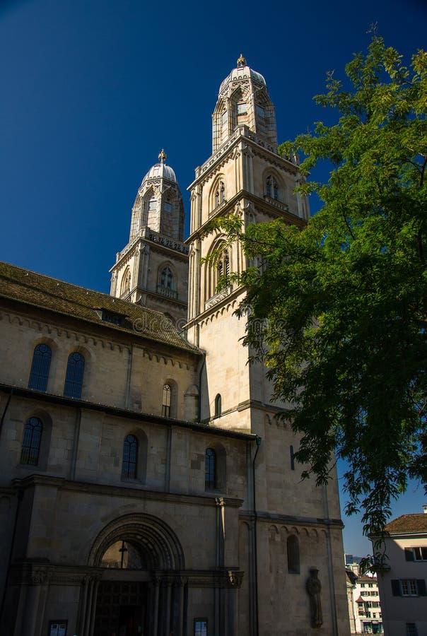 Grossmunster kościół w Zurich, Szwajcaria fotografia royalty free