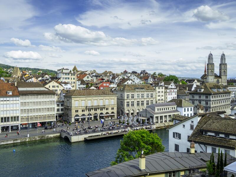 Grossmunster, Limmat river and Zurich city stock photos