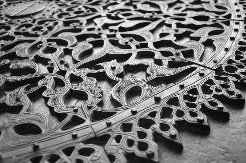Groszak rzeźbiący drzwi obrazy stock