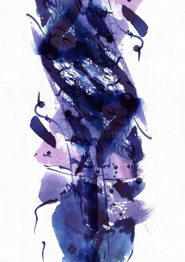 Grote abstracte waterverfachtergrond Levendige blauwe en purpere kleuren op korrelig geweven document Grote roosterillustratie vector illustratie