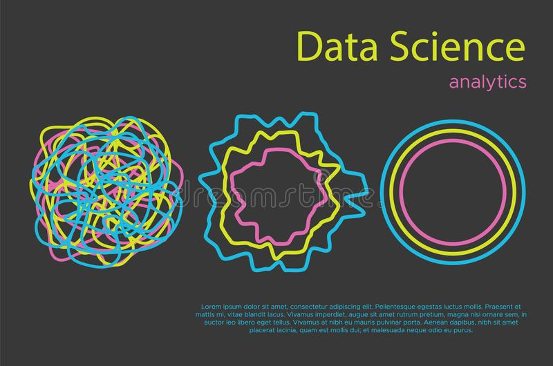Grote analytics vector vlakke illustation van de gegevensinformatie royalty-vrije stock afbeelding