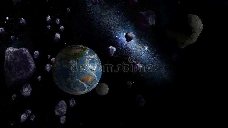 Grote Asteroïden die Aarde naderen royalty-vrije illustratie
