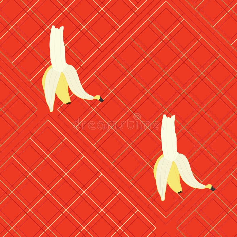Grote bananen op rode plaid vector illustratie