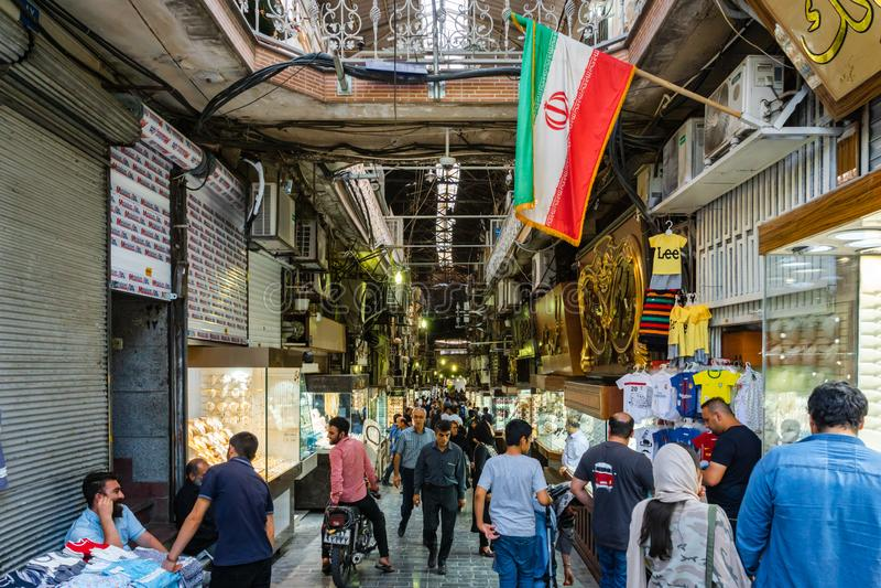 Grote Bazaar in de stad van Teheran, Iran royalty-vrije stock foto