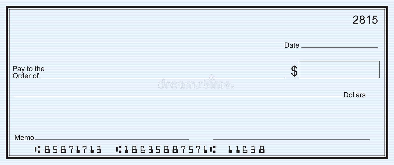 Grote blanco cheque - blauwe streepachtergrond