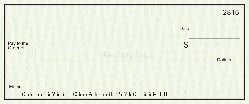 Grote blanco cheque - groene veiligheidsachtergrond stock illustratie
