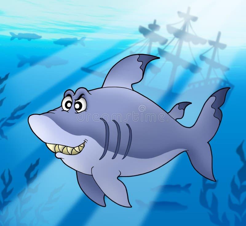 Grote blauwe haai met schipbreuk stock illustratie