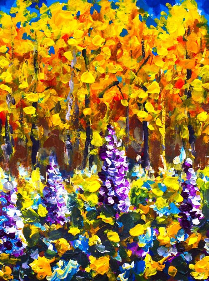 Grote Bloemen in zonnige dag van de de herfst de bosherfst in oranje gouden bos Purpere, witte, blauwe grote bloemen in bos Mooie royalty-vrije stock afbeelding