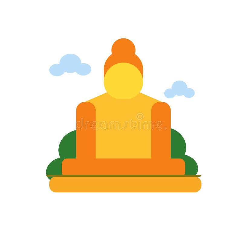 Grote Boedha van geïsoleerd het pictogram vectorteken en symbool van Thailand vector illustratie