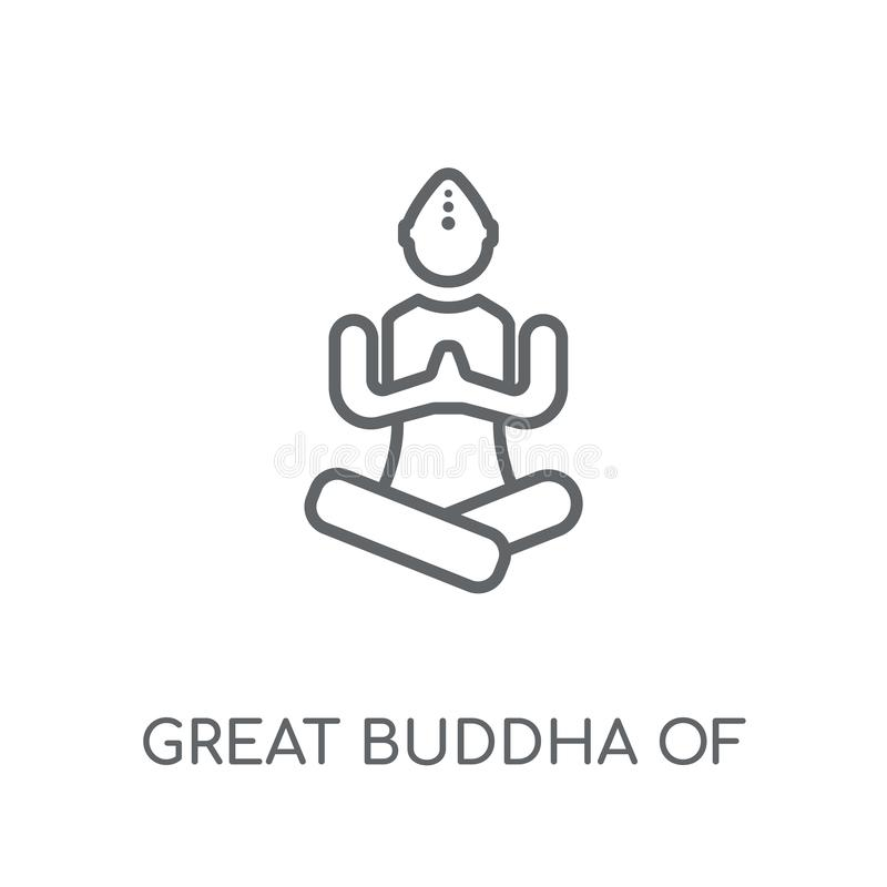 Grote Boedha van het lineaire pictogram van Thailand Moderne overzichts Grote buddh vector illustratie