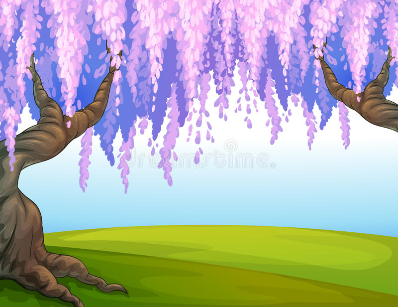 Grote bomen in het park royalty-vrije illustratie