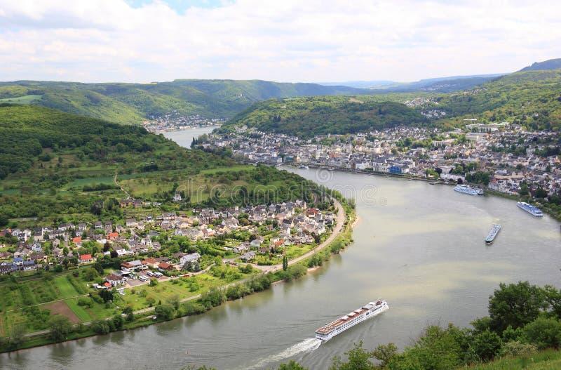 Grote boog van de Rijn-Vallei dichtbij Boppard, Duitsland. stock afbeeldingen