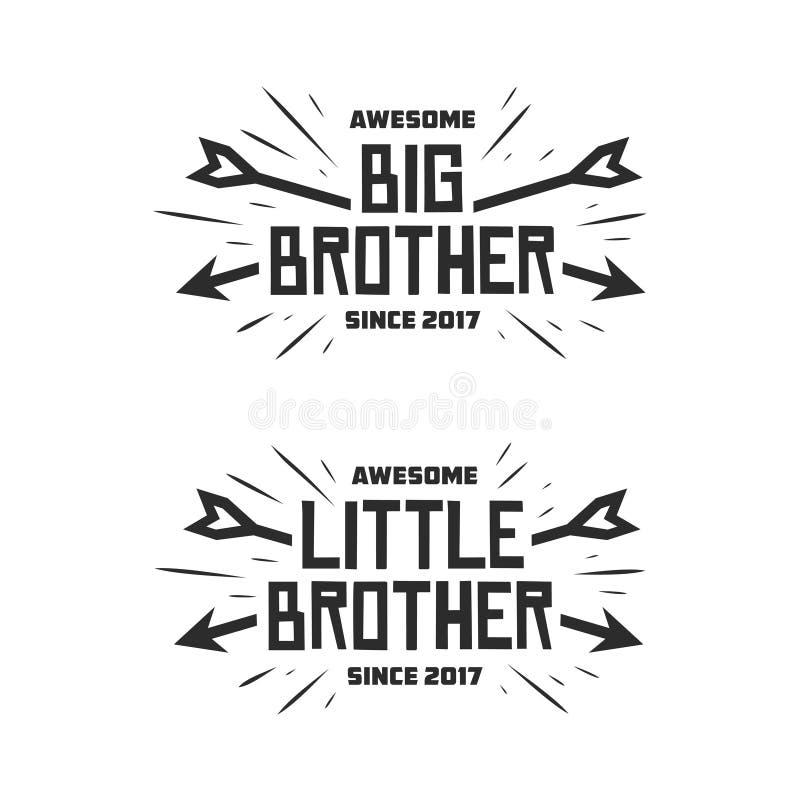 Grote broer weinig druk van de broertypografie Vector uitstekende illustratie royalty-vrije illustratie